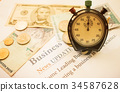 Time is money, Analog Clock on Dollars bills 34587628