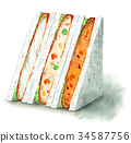 Sandwiches painted with watercolor (croquettes, fried white fish) 34587756