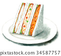 Sandwiches painted with watercolor (croquettes, fried white fish) 34587757