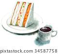 三明治 水彩画 咖啡 34587758