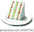 三明治 水彩畫 橫斷面 34587761
