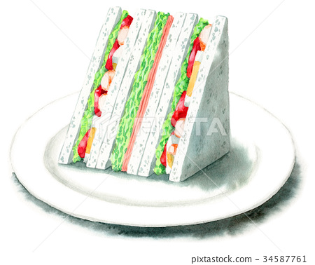 sandwich, sandwiches, watercolour 34587761