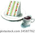 แซนด์วิชและกาแฟวาดด้วยสีน้ำ 34587762