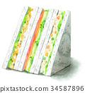 Watercolor painted sandwiches (potato salad, egg, ham lettuce) 34587896