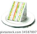 Watercolor painted sandwiches (potato salad, egg, ham lettuce) 34587897