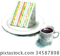Sandwich and coffee painted by watercolor 34587898