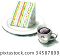 Sandwich and coffee painted by watercolor 34587899