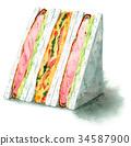 三明治 水彩畫 橫截面 34587900