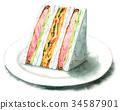 三明治 水彩畫 橫截面 34587901