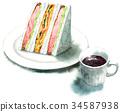 三明治 水彩畫 橫截面 34587938