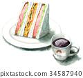 三明治 水彩畫 橫截面 34587940