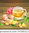 Ginger tea vector composition on wooden background 34588323