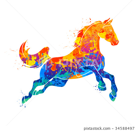 Galloping horse Abstract 34588497