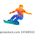 snowboard, splash, watercolor 34588502