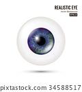 Realistic Human Eyeball. 3d Glossy Photorealistic 34588517