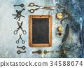 Vintage objects Creative flat lay chalkboard 34588674