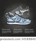Fashion vector sketch womens shoes. 34589840