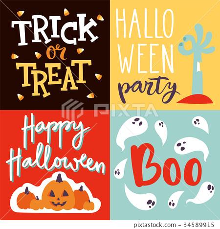 Halloween Party Celebration Invitation Cards Stock