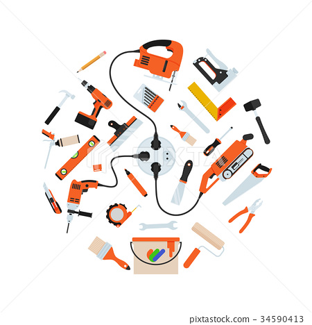 Construction repair tools in circle composition 34590413