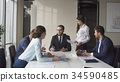 Portrait of young business team at work. Bright 34590485