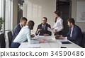 Multi-ethnic business team meeting brainstorming 34590486
