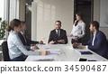 Multi-ethnic business team meeting brainstorming 34590487
