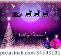 purple christmas background with santa claus on 34593191