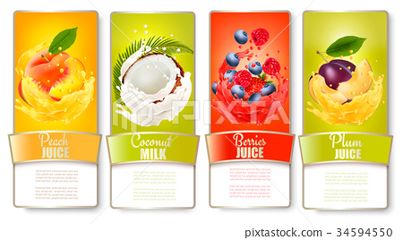 Set of labels of of fruit in juice splashes.  34594550