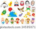 新年贺卡材料 促进或引发好运的东西 吉祥物 34595071