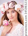 woman, flower, wreath 34596323