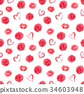 Seamless pattern with roses, hearts and red lips 34603948