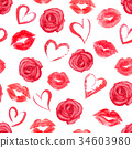 Seamless pattern with roses, hearts and trace lips 34603980