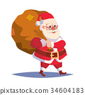 Santa Claus Carrying Big Sack With Gifts Vector 34604183