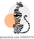 Abstract silhouettes of big cat. 34605474