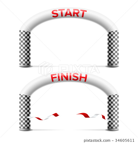 3D Start, Finish Line Arch Vector. Outdoor Sport 34605611
