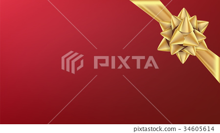 Christmas Gold Bow Vector. Element For Decoration 34605614