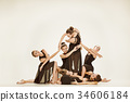 The group of modern ballet dancers 34606184