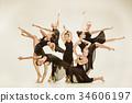 The group of modern ballet dancers 34606197