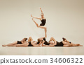 The group of modern ballet dancers 34606322