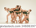The group of modern ballet dancers 34606397