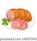 Boiled sausage slices with parsley leaf on white 34607940