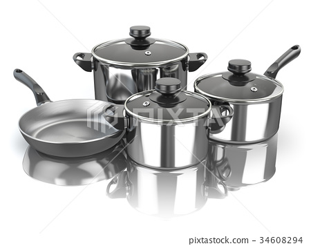 Pots and pans. Set of cooking kitchen utensils  34608294