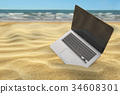 beach, laptop, computer 34608301