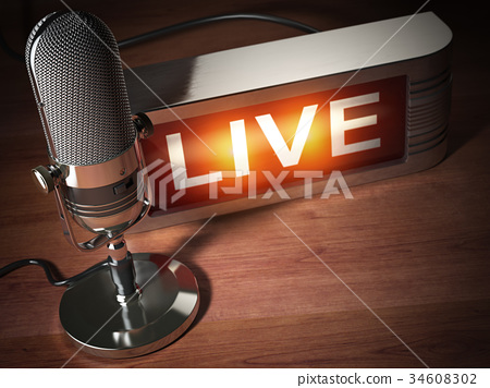 Vintage microphone with signboard live.  34608302