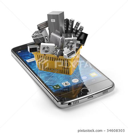 Mobile phone and shopping basket with  appliances 34608303