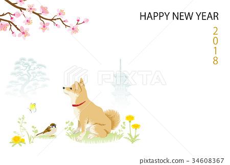 英文祝福2018年新年賀卡柴犬春天的風景 34608367