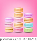 Macarons Set Vector. Colourful Sweet French 34610214