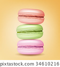 Realistic Macarons Vector. Sweet French Macaroons 34610216