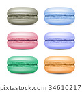 Realistic Macarons Set Vector. Detailed Colourful 34610217