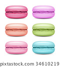 Macarons Set Vector. Realistic Tasty Colourful 34610219